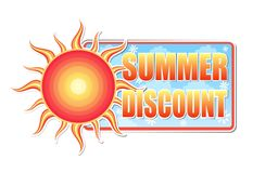 Summer discount in label with sun Stock Images