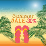 Summer discount of 30 percent on the sand with summer slippers . Stock Images