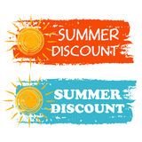 Summer discount with yellow sun sign, orange and blue drawn labe Stock Image