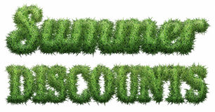 Summer Discounts text made of grass. Isolated on a black background. 3D illustration Royalty Free Illustration