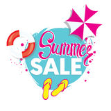 Summer discounts. Vector illustration with inscription, slapping, swimming circle and beach umbrella. Vacation and travel. Royalty Free Stock Image
