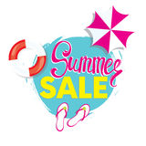Summer discounts. Vector illustration with inscription, slapping, swimming circle and beach umbrella. Vacation and travel. Stock Photos