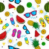 Summer Doddle Seamless Pattern Vector. Art Stock Images