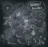 Summer Doodle on chalkboard background Stock Photo