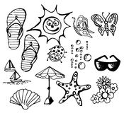 Summer doodle elements Stock Photos