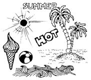 Summer doodle elements Royalty Free Stock Image