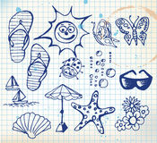 Summer doodle elements Royalty Free Stock Photos