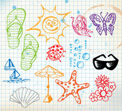 Summer doodle elements Royalty Free Stock Photography