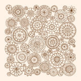 Summer doodle flower circles ornament. Hand drawn art mandalas. Royalty Free Stock Photo