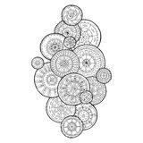 Summer doodle flower circles ornament. Hand drawn art mandalas. Made by trace from sketch. Black and white ethnic background.n Stock Photography