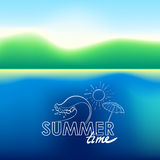 Summer doodle postcard. Hand-drawn wave, umbrella and sun. Royalty Free Stock Photo