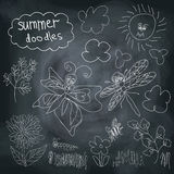 Summer Doodle set on chalkboard background Royalty Free Stock Photos