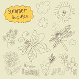 Summer Doodle set.Children's hand drawing Stock Photos
