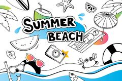 Summer doodle symbol and objects icon design for beach party background. Invitation hand drawn style. Use for labels, stickers, b. Adges, poster, flyer, banner royalty free illustration