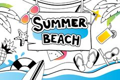 Summer doodle symbol and objects icon design for beach party bac Stock Photos