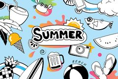 Summer doodle symbol and objects icon design for beach party bac Stock Photo