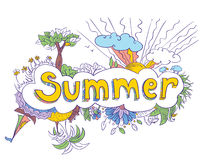 Summer doodles. Summer colorful doodles, illustration Stock Illustration