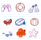 Summer doodles Stock Images