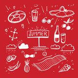 Summer Doodles. Summer hand draw icon set. Vector illustration. Isolated stock illustration