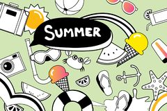 Summer doodles symbol and objects icon elements for beach party Royalty Free Stock Images
