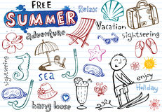 Summer doodles, vector illustrations Royalty Free Stock Photos