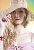 Summer dreamer girl with straw hat on the beach Royalty Free Stock Photography