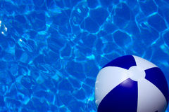 Summer Dreams. Pool shot in color with beach ball, bright blue. Perfect for text insertion for summer birthday pool party or a resort or vacation brochure or ad Royalty Free Stock Image