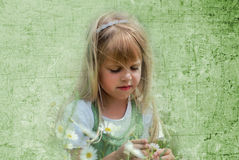 Summer  Dreams. Little blond girl with daisies in textured background Royalty Free Stock Photography