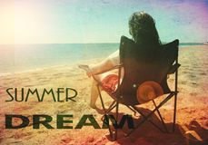 Summer dreams woman beach vintage retro. A woman on a beach with summer dream's text Stock Images