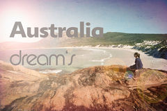 Summer dreams woman beach vintage retro. A woman on a beach with summer dream's text Royalty Free Stock Photo