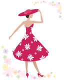 Summer dress. An illustration of a woman wearing a beautiful red summer dress with big white flower print and matching hat on a white background with colorful Royalty Free Stock Images
