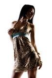 Summer dress. Fashion model in studio modeling summer dress Stock Image