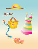 Summer dress. Summer outfit dress hat bag sun glasses Stock Image