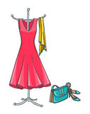 Summer Dress with accessories Royalty Free Stock Photos