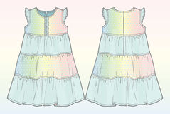Summer dress with gradient effect. Front and back view of a summer dress royalty free illustration