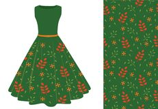 Summer dress with leaf pattern. Green summer dress with leaf pattern. vector illustration Royalty Free Stock Photo