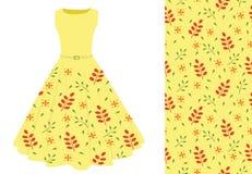 Summer dress with leaf pattern. Vector illustration Stock Image