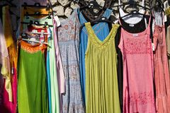 Summer dresses hanging in sunlight in Capri, Italy, Europe Royalty Free Stock Photo