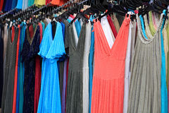 Summer dresses at market Stock Photo