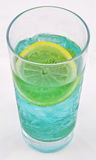 Summer drink. Summer cocktail drink in blue color with lemon Stock Photography