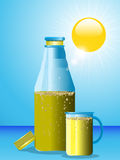 Summer drink bottle and glass Stock Photo