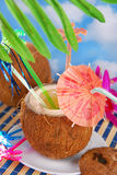 Summer drink in coconut shell Stock Photos