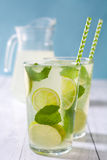 Summer drink. Fresh mojito with lime and mint. Blue background Stock Image