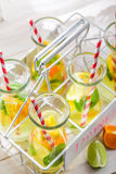 Summer drink with lemon and orange Royalty Free Stock Images