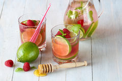 Summer drink lemonade with raspberry and lime Royalty Free Stock Photo
