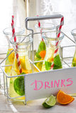 Summer drink with straw and fruits Stock Photo