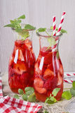 Summer drink with strawberry Stock Images