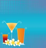 Summer Drinks. With frangipani flowers on cool blue bakcround Royalty Free Stock Photo
