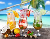 Summer drinks on the beach Stock Images