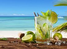 Summer drinks with blur beach on background Royalty Free Stock Photography